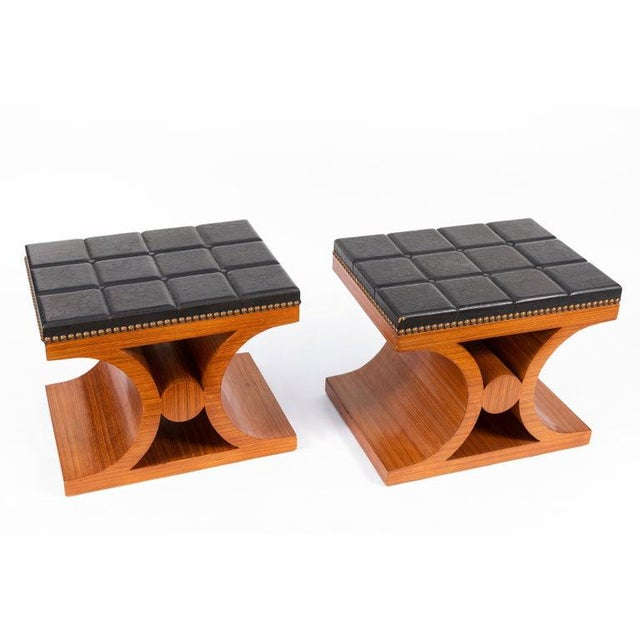Pair of Mid-Century Modern benches with hard laminated leather tops.