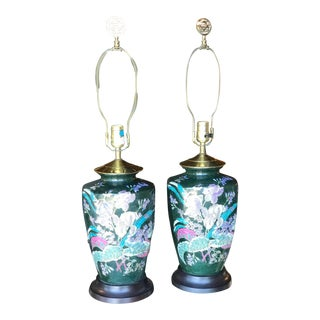 Vintage Chinoiserie Hand Painted Lamps-Pair For Sale