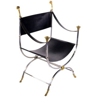 Maison Jansen Savonarola Steel and Brass Leather Chair For Sale