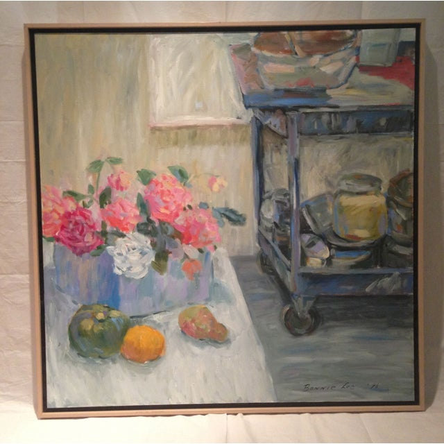 This charming studio still life by a California artist. Uses blues, grays and soft neutrals are the main palette. This...