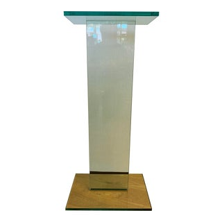 Mid Century Glass Pedestal Stand For Sale