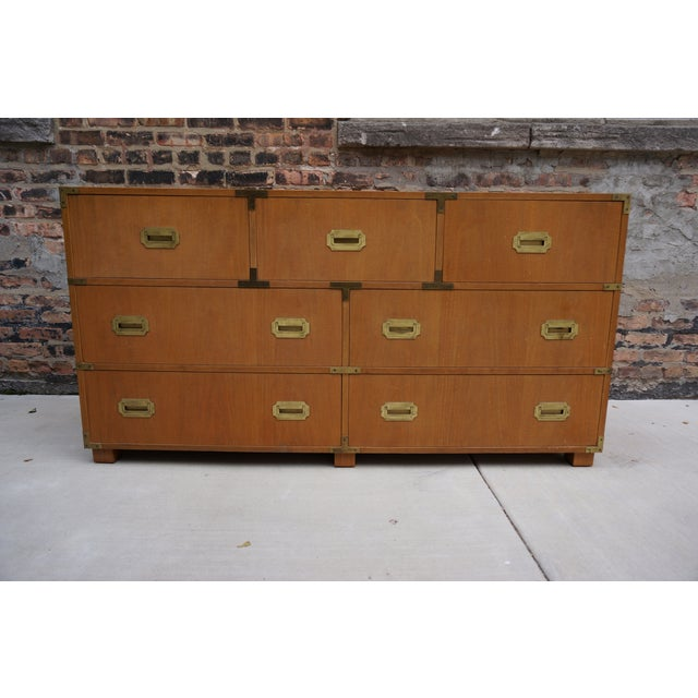 Mid-Century Modern Baker Campaign Style 7-Drawer Bleached Mahogany Dresser For Sale - Image 13 of 13