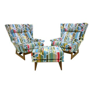 Adrian Pearsall Wingbacks W/ Ottoman - Set of 3 For Sale