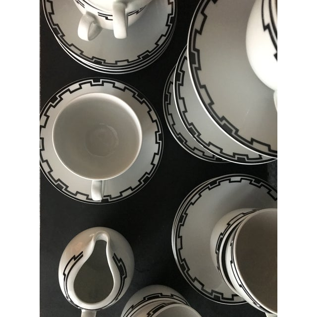 Mid-Century Modern Modern Greek White Black Geometric Sompex Ionia Collection Service of 11 For Sale - Image 3 of 12