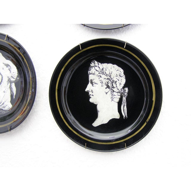 Fornasetti Style Neoclassical Black Glass Wall Plates - Set of 6 Mid-Century Modern MCM - Image 6 of 11