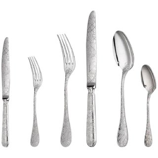 Jardin d'Eden by Christofle 36-Piece Silver Plated Flatware Set 6 W/Chest Dn New For Sale