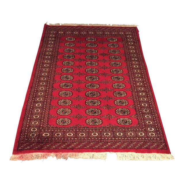 Hand Knotted Woolen Bokhara Rug - 4' x 6' For Sale