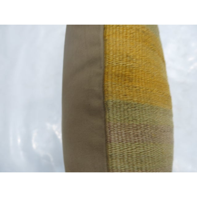 Cabin Yellow Turkish Kilim Rug Pillow For Sale - Image 3 of 3