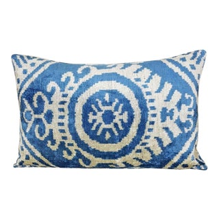 Mineral Blue Silk Velvet Ikat Lumbar Pillow For Sale