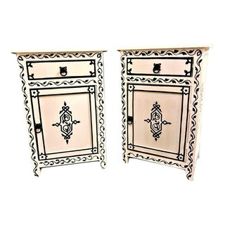 White & Black Hand-Painted Moroccan Nightstands - A Pair