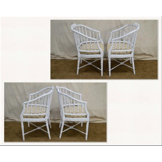 Vintage Faux Bamboo White Distressed Painted Barrel Back Arm Chairs - a Pair Preview