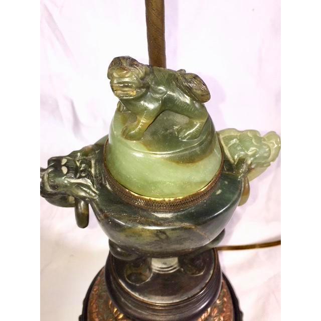 Mid 20th Century Vintage Chinese Jade Lamp For Sale - Image 5 of 13