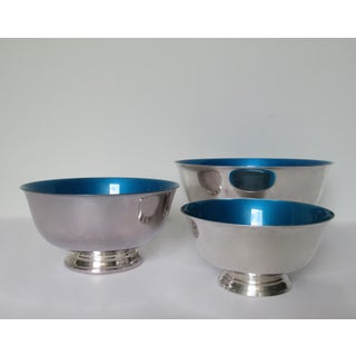 Reed & Barton Silver Plate Bowls With Peacock Blue Enameled Interiors -Set of 3 Preview