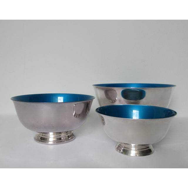 Vintage; C.1960-70s-, Orignal Reed & Barton, silver plate, Paul Revere bowls, with a stunning cerulean or brilliant...
