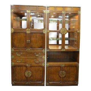 1960s Vintage Henredon Campaign Style Storage/Bar/Desk Cabinets - a Pair For Sale