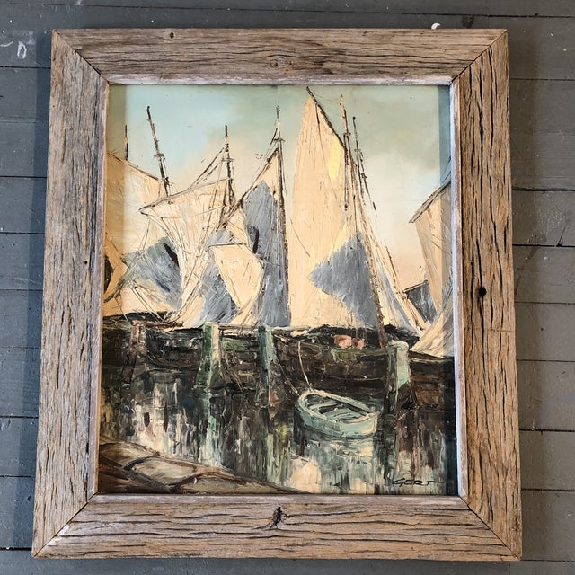 Canvas Original Vintage Sail Boats in Harbor Seascape Painting For Sale - Image 7 of 7