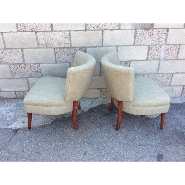 Mid-Century Slipper Chairs- A Pair For Sale - Image 4 of 7