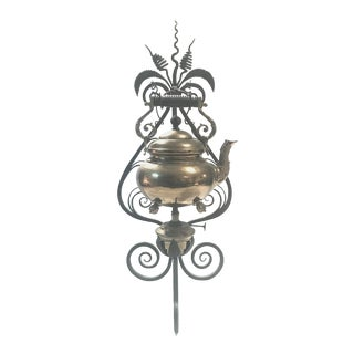 19th Century English Brass Tea Kettle Warmer on Wrought Iron Stand For Sale