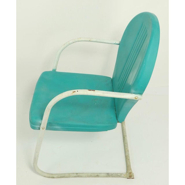 Metal Mid Century Metal Lawn Garden Patio Chairs by Shott - a Pair For Sale - Image 7 of 13