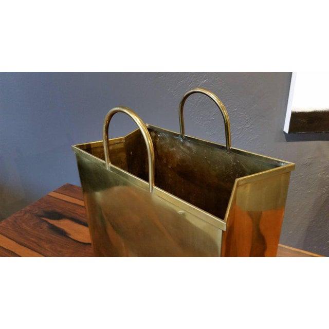 1970s Spain Sarreid, Ltd. Glam Brushed Brass Shopping Bag Umbrella Stand - Image 4 of 7