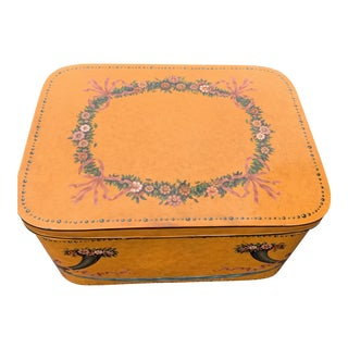Maitland Smith Coffee Table Trunk With Metal Floral Decorative Wreath For Sale