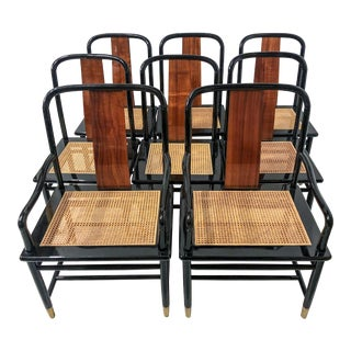 Set of 8 Asian Modern Henredon Dining Chairs For Sale