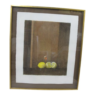 Sally Haley Untitled Framed Signed Still Life Lithograph of Lemons For Sale