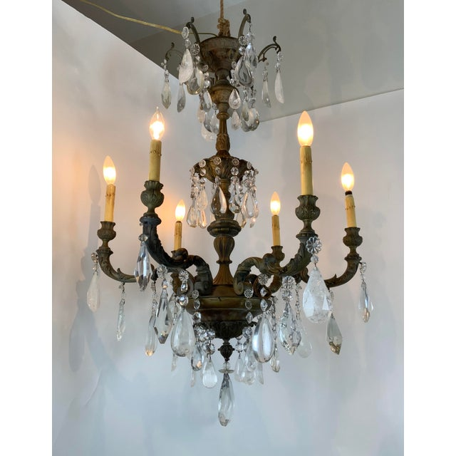 Late 19th / Early 20th Century French Bronze Chandelier With Rock Crystals For Sale In Los Angeles - Image 6 of 13