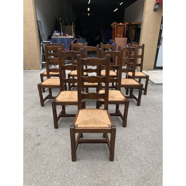 Set of 10 French Louis Philippe Country chairs solid walnut circa 1910s ,Original rush seats are in good condition only 2...