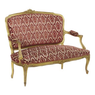 French Louis XV Style Carved Giltwood Antique Settee Sofa For Sale