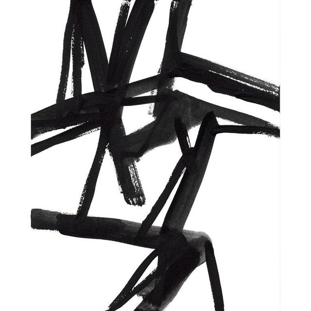 """Japanese Large Black and White Abstract Modern Art - """"Shadows #2"""" Unframed Giclée Print For Sale - Image 3 of 5"""