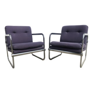 1970s Vintage Italian Chrome Tufted Lounge Chairs - 1 Available For Sale