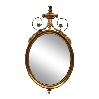 French 19th Century Neoclassical Giltwood Oval Mirror For Sale