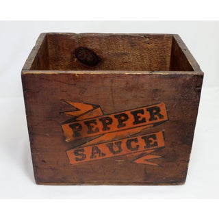 Early 20th Century Antique Wood Pepper Sauce Shipping Box Preview