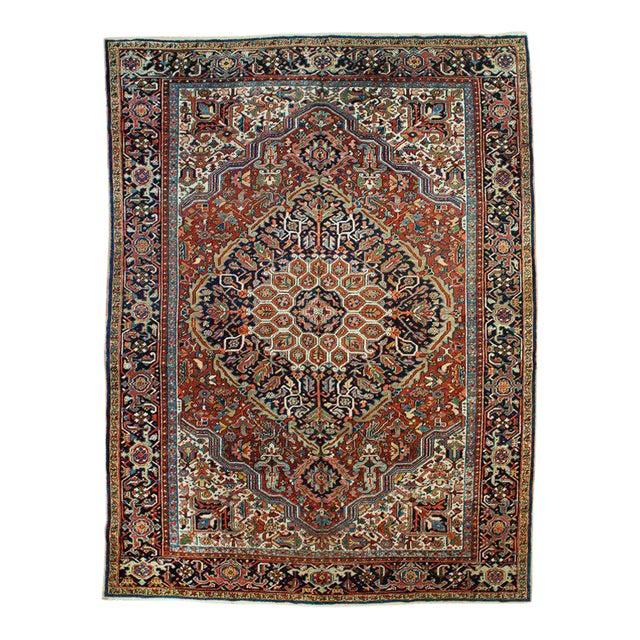 Antique Persian Heriz Rug - 8′10″ × 11′7″ For Sale