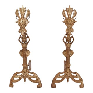 American Art Nouveau Andirons - A Pair For Sale