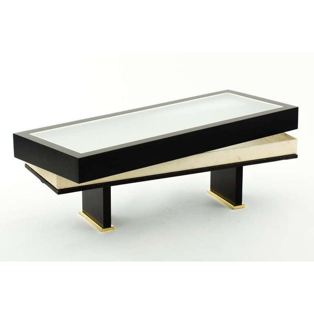 Mid 20th Century French 1960s Shadowbox Coffee Table with Brass Detail For Sale - Image 5 of 7