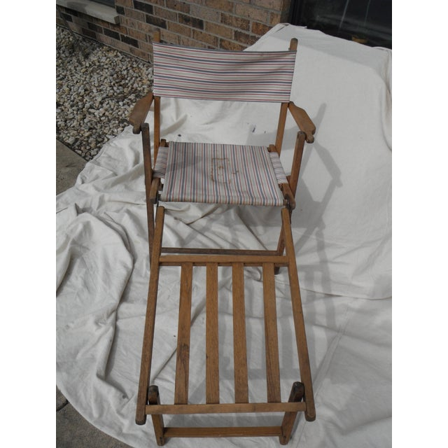 Antique Canvas Steamer Chair & Footrest For Sale - Image 5 of 8
