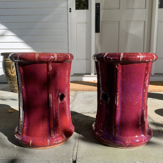 Ceramic Magenta Faux Bamboo Garden Stools- a Pair For Sale In New York - Image 6 of 6