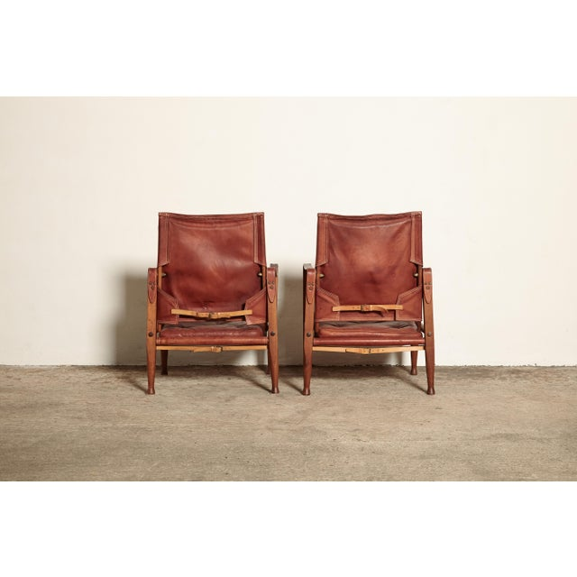 Red Kaare Klint Safari Chairs and Footstools, Rud Rasmussen, Denmark, 1950s For Sale - Image 8 of 11