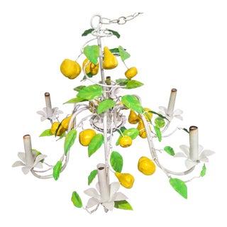 Italian Palm Beach Regency Tole Lemon Leaf 6 Light Ceiling Chandelier For Sale