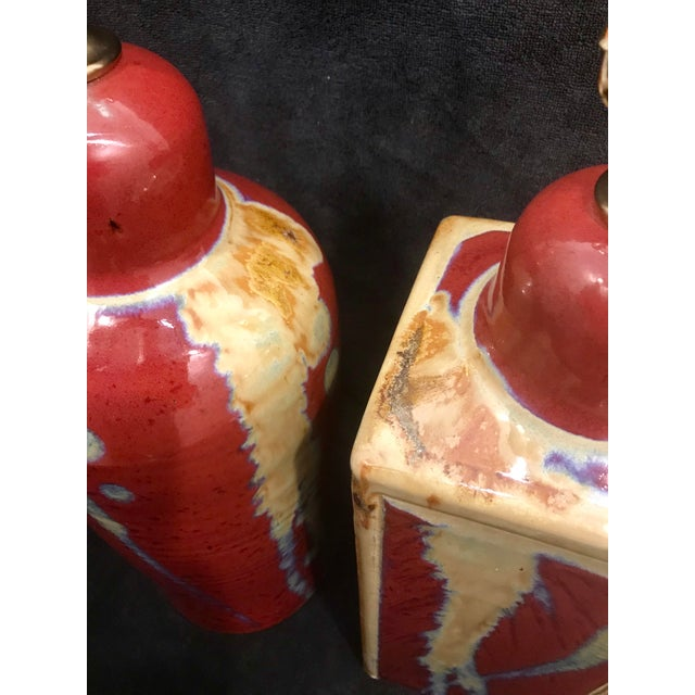 Jim Lauer Signed Studio Pottery Oxblood Drip Glazed Lamps - a Pair For Sale - Image 4 of 9