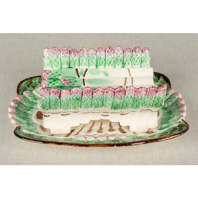 French Country Longchamp French Majolica Asparagus Plates and Serving Set For Sale - Image 3 of 13