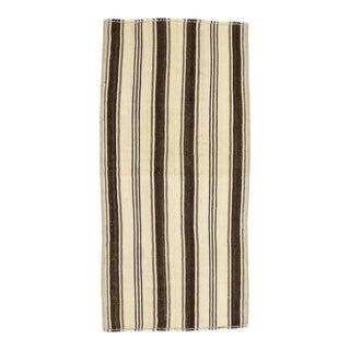 Mid 20th Century Ivory & Brown Striped Vintage Kilim Rug For Sale