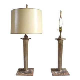 Pair of Torch Theme Bronze on Marble Table Lamps by the Chapman Company For Sale