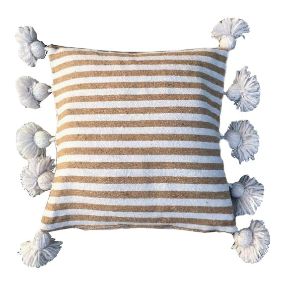 Tan & White Pom-Pom Pillow Cover For Sale