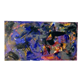 Blue Abstract by Erik Sulander Acrylic on Wood 48 X 26 Original For Sale