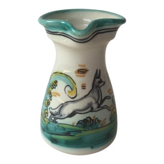 1980s Spanish Ceramic Fraile Painted Dog or Wolf Wine Pitcher For Sale