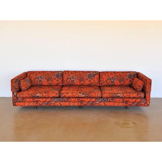 "Mid-Century Modern Harvey Probber Tuxedo Sofa with Jack Lenor Larson ""Happiness"" Upholstery For Sale - Image 3 of 8"