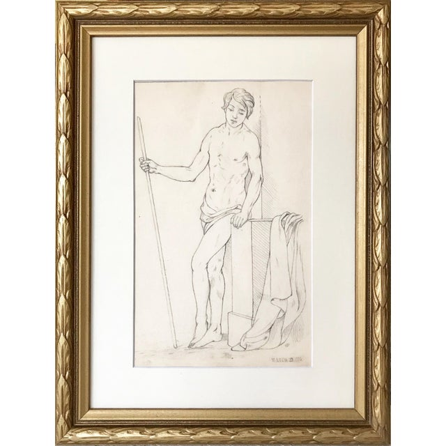 Pencil 19th Century Neoclassical Drawing of a Greco Roman Male Nude For Sale - Image 7 of 7